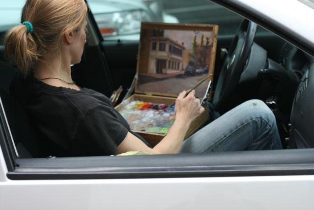 May 23, Painting In the Car