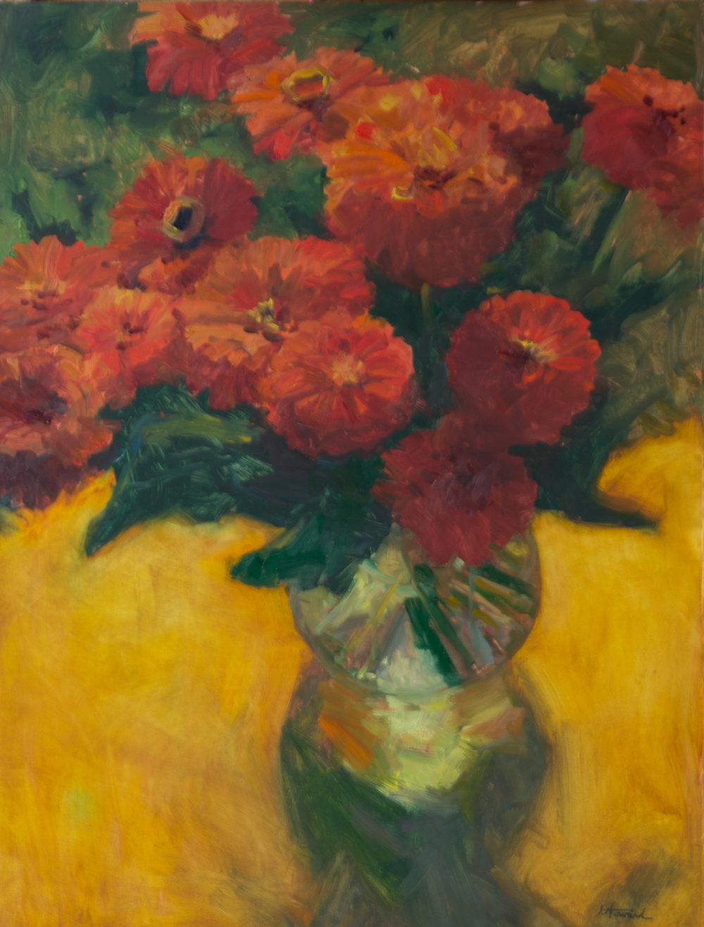 Orange Zinnias On Yellow