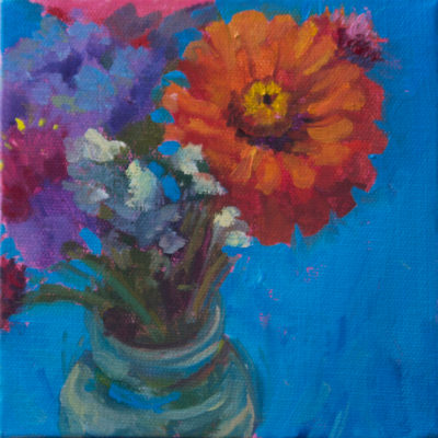 Blue Button Bouquet, Oil on canvas, 6 x6""
