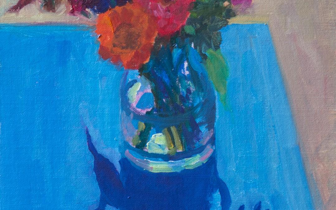 Bouquet on Blue