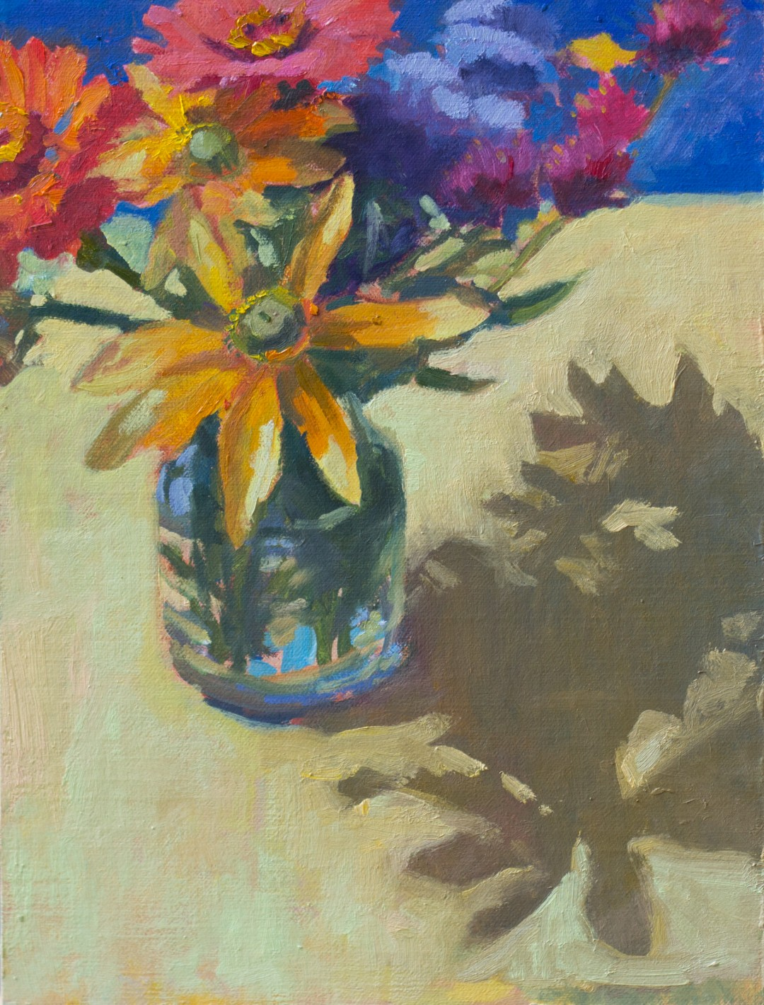 "Yellow Bouquet on Yellow, 9"" x 12"", oil on linen panel"