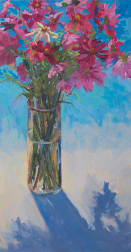 "Floral, ""Cosmos"", Oil painting by Janet Howard-Fatta"